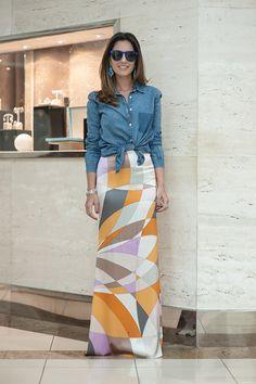 camisa jeans + saia longa