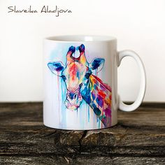 Giraffe Mug Watercolor Ceramic Mug Giraffe Unique Gift by SlaviART