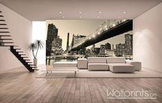 Wallprint brug New York in je living. Wallprint bridge New York in your living room. Pont de New York Wallprint dans ton salle de séjour.
