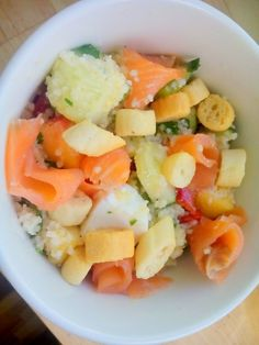 Salmon couscous and croutons!