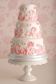 Three tier 'Pretty Pink' wedding cake white with light pink and white flowers  by Maisie Fantaisie of the UK