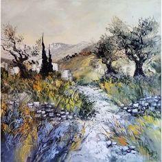 Le chemin des oliviers Post Impressionism, Bob Ross, Les Oeuvres, Landscape Paintings, Pastel, Champs, Felting, Paisajes, Acrylic Paintings