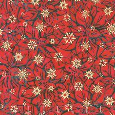 Artisan Batiks - Northwoods 6 Poinsettias Holiday Metallic Yardage