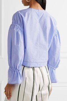 3.1 Phillip Lim - Gathered Cotton-poplin Top - Sky blue - US