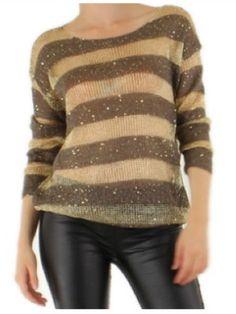 Danity pParis Dark Brown and Gold Sequin Stripe Jumper