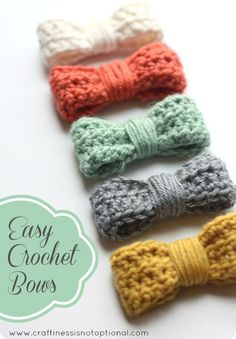 This easy crochet bow by Craftiness is Not Optional is the perfect beginner project. Learn to crochet and make something cute at the same time! Try it with Lion Brand Bonbons or Vanna's Palettes.