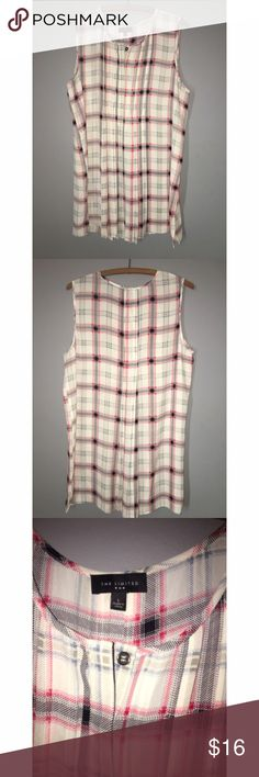 """The Limited Sheer Sleeveless Tunic SZ Large The Limited Sleeveless sheer glen check plaid. White, grey and slate blue. Tunic style, front pleats, buttons a 1/4 of the way down the front. Size Large, measures 22"""" armpit to armpit, overall length is 31 1/2"""". The Limited Tops Tunics"""