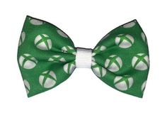 XBox themed fabric hair bow on a double prong alligator clip. (approx 3 inches in length)  *This is a transformative piece of fiber art made with upcycled material. I am in no way affiliated with the original copyright holders, and this is not an officially licensed item.*