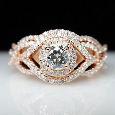 1.02cttw Diamond 14k Rose Gold Engagement Ring with Matching Wedding Band- Size 6 - Layaway & Resizing Available on Etsy, $2,350.00