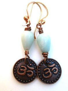 Copper earrings. OM charms, Amazonite stone, wire dangle jewels | mckeejewelrydesigns - Jewelry on ArtFire