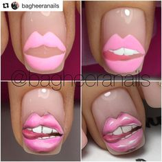 Beautiful nail art designs that are just too cute to resist. It's time to try out something new with your nail art. Sexy Nails, Toe Nails, Coffin Nails, Acrylic Nails, Painted Nail Art, Nail Art Hacks, Beautiful Nail Art, Creative Nails, Lip Art