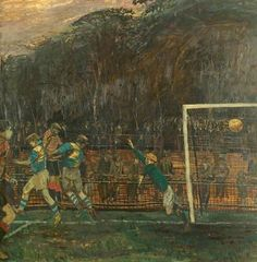 Last Minute Goal by Carel Victor Morlais Weight Date painted: 1949 Oil on board, 88 x cm Watch Castle, Museum Art Gallery, Lifelong Friends, Royal College Of Art, Art Uk, Last Minute, Your Paintings, Goals, British