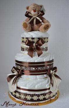 """Торт из памперсов """"Шоколадный"""" 60 штук. Подарок на выписку., фото 1"""