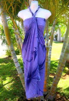 Sarong Hawaiian Luau Wrap Dress ~ PURPLE GIANT HIBISCUS on Etsy, $18.99