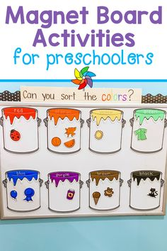 You'll find 10 interactive activities for preschoolers to learn on a vertical surface which incorporates gross motor learning. Magnet boards are easy to make and can be used for a variety of learning activities like, color sorting, shape recognition, name practice, letter recognition, counting and numbers, and so much more. Preschool Color Activities, Sorting Activities, Interactive Activities, Educational Activities, Preschool Activities, Interactive Board, Play Based Learning, Toddler Learning, Learning Centers