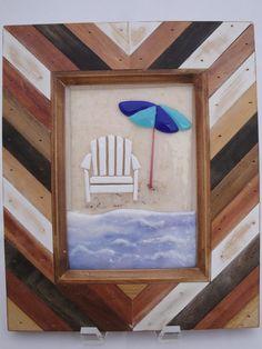 Fused Glass Beach Chair Umbrella Stained Art Flutterbyfoto  Flutterbybutterfly Sharon Warren