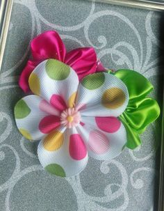 Rosette Hair BowRibbon Satin Flower Hair by LoveNTheMaking on Etsy, $4.25