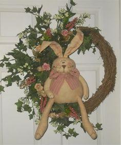 Adorable Easter Bunny Wreath for Spring Spring Wreaths, Easter Wreaths, Christmas Wreaths, Hoppy Easter, Easter Bunny, Diy Wreath, Door Wreaths, Fat Bunny, Primitive Wreath