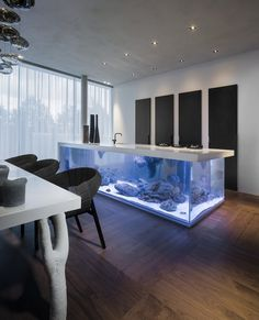 This is a kitchen island fish aquarium. I love large fish aquariums, but not for my kitchen. This would be great in a game room with a wet bar. Concept is awesome!