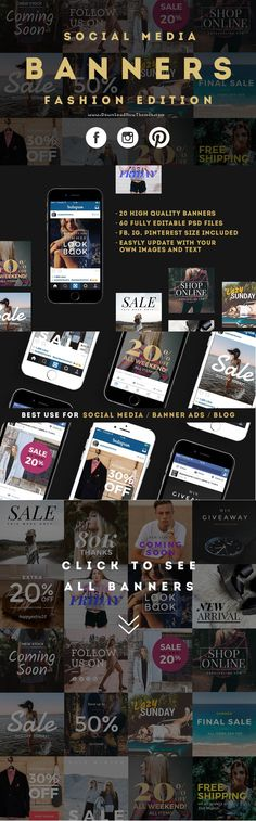 Fashion edition Social Media #banners pack offers 20 different unique trendy #fashion style designs for upgrading your online shop's social media post or sales #promotion on #Facebook, #Instagram and #Pinterest.