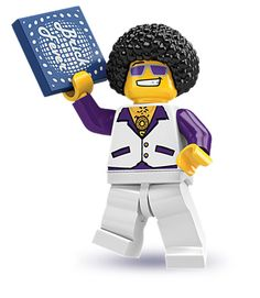 """Have you seen these? Have you?!!!! Lego mini figures -- I have found a new obsession.  Let me introduce you to Lego Disco man. In case you can't read what he's holding it says """"Brick Fever"""". Do I need to say anything else?"""