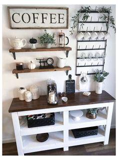 Coffee Bar Station, Home Coffee Stations, Keurig Station, Coffee Area, Coffee Nook, Coffee Coffee, Coffee Bars In Kitchen, Coffee Bar Home, Coffee Bar Design