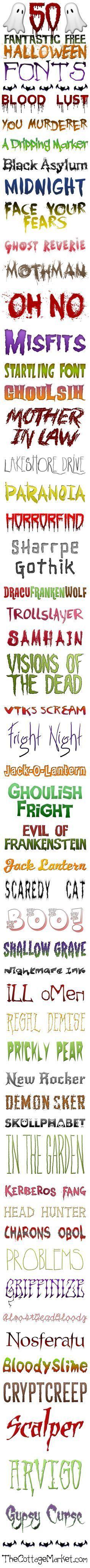 50 Fantastic Free Halloween Fonts - The Cottage Market