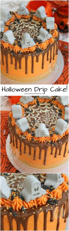 Halloween Drip Cake! A Spooky yet Delicious Halloween Drip Cake to be the Ultimate Showstopper… Chocolate Sponge, Orange Buttercream, and all things Spooky!