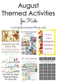 Calendar observances and Montessori-inspired themed activities throughout August; multi-age activities for home or classroom - Living Montessori Now #Montessori #calendar #homeschool #preschool #kindergarten #August #backtoschool