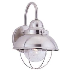 Seagull 8870-98 Seagull Lighting 8870-98 Single-Light Sebring Wall Lantern in Brushed Stainless finish