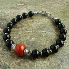 Black Onyx and Red Jasper Gemstone Beaded Bracelet for Men, Guys, Him, Handmade Mens Jewelry, $28.95