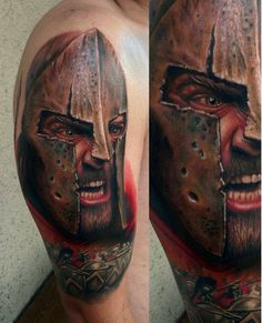 Realistic 3D gladiator tattoo on arm.. Click on the pic for more #tattoos