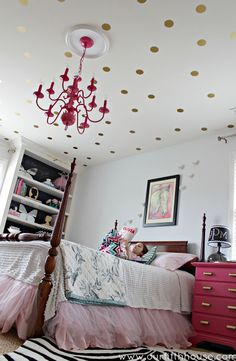 Our Fifth House -polka dot ceiling  - land of nod decals