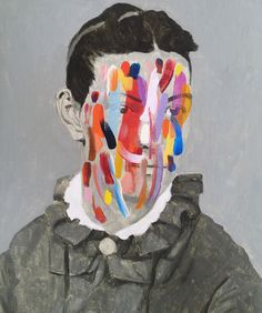 Monochromatic Portraits Obscured by Colorful Abstract Markings by Guim Tió Zarraluki | Colossal