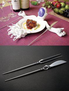 Evangelion dinner set. Awesome Lance of Longinus forks.