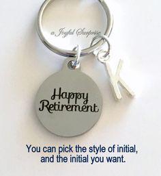 Retirement Gift, Retirement Key Chain, Happy Retirement Present, Coworker Keychain Gift for Boss Retire Keyring Initial letter custom silver by aJoyfulSurprise on Etsy