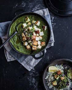 Kale Paneer- Golden paneer cubes tossed in a smooth silky nourishing green kale sauce. A super delicious weeknight vegetarian meal. Indian Vegetarian Dishes, Vegetarian Curry, Indian Food Recipes, Vegetarian Recipes, Kale Recipe Indian, Indian Dishes, Quick Family Meals, Family Recipes, Saag