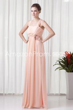 Mother of the Bride Dresses/Bridesmaid Dresses/Prom Dresses/Wedding Dresses/Evening Dresses A-Line Straps Sleeveless Empire Zipper Floor-Length Chiffon Ruching/Beading