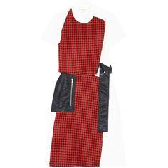 3.1 PHILLIP LIM Plaid Dress ($666) ❤ liked on Polyvore featuring dresses, red dress, red plaid dress, red wool dress, tie dress and 3.1 phillip lim