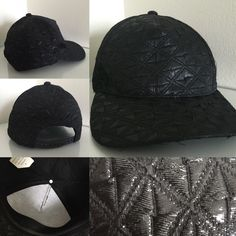Quilted Black Wet Seal Cap 100% polyester. Black, quilted pattern, somewhat shiny metallic effect. Only worn once. There's a stain on the inside rim from makeup but other than that it's in good condition. Adjustable snaps in back. Selling because it is too small for me. Wet Seal Accessories Hats