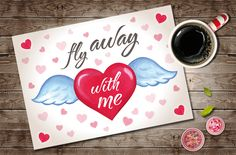 Valentines Day Printable Greeting Card, Valentines Card, Romantic DIY Valentine Digital Card, Anniversary Card, Fly Wings Red Heart Card