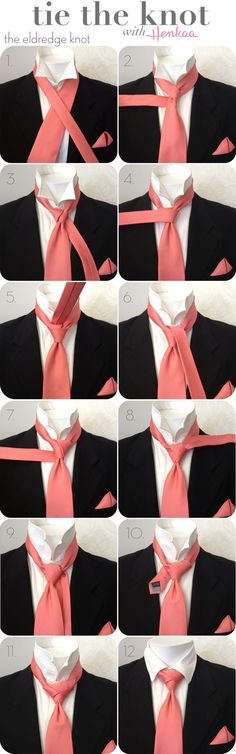 How to Tie a Necktie - Eldredge Knot - Click through for the how to Tie a Tie video. Also many more ways to tie a necktie, bow tie, ascot, and cravats. Not really as hard as it looks but it can frustrate the first timers very much Sharp Dressed Man, Well Dressed, Look Fashion, Mens Fashion, Fashion Tips, Tie A Necktie, Necktie Knots, Suit And Tie, Dress Codes