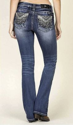 "These new jeans from Miss Me are a sure hit! They feature the ""bling"" that everybody loves, as well as the classic mid rise boot cut fit that will always guarantee comfort, and flexibility.They have a"