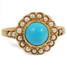 A smooth dome of turquoise is encircled with a halo of luminescent seed pearls in this elegant Edwardian ring. Available in Yellow Gold. Gemstone Jewelry, Jewelry Rings, Jewlery, Jewelry Box, Antique Jewelry, Vintage Jewelry, Edwardian Ring, Turquoise Rings, Vintage Turquoise
