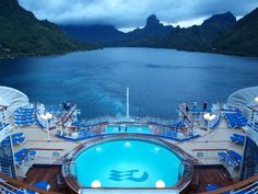 Sapphire Princess departing #BoraBora after an exhilarating day on this Pacific island paradise. Photo by R. Lindroth