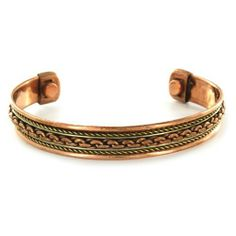 Two-toned Copper Magnetic Pattern Cuff Bracelet - Chain West Coast Jewelry. $37.95