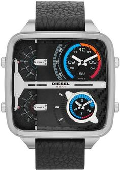 Diesel Square Daddy Watch These jumbo watches can tell time in four different time zones simultaneously. Their cases measure a whopping x and offer water resistance to 5 ATM. Dream Watches, Luxury Watches, Cool Watches, Men's Watches, Wrist Watches, Wooden Watches For Men, Mens Watches Leather, Vintage Watches, Herren Chronograph