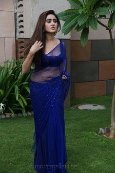 Actress Sony Charishta Hot in Blue Saree Pics