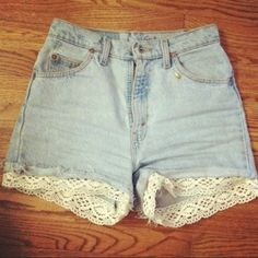 FASHION/FIX-IT IDEA: I'm no fan of short shorts (guys OR girls!) but the simple & cute flare you can add with lace, as shown in this tuturial (and this: http://petite-fashionista.blogspot.com/2012/03/diy-how-to-add-lace-to-denim-shorts.html) , is something that can be done to a variety of articles of clothing: skirts, capris, shirts, hats?, etc., in a variety of different ways to beautify even the plainest of garments. :-)