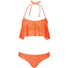 Topshop Crochet Bikini Set ($35) ❤ liked on Polyvore featuring swimwear, bikinis, swimsuits, bathing suits, swim, orange, crochet bathing suit, crochet swimsuit, bikini swimsuit and swim suits
